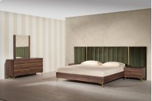 Nova Domus Calabria Modern Walnut & Green Velvet Bedroom Set