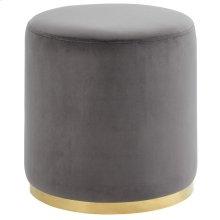 Sonata Round Ottoman in Grey & Gold