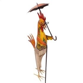 Iron Painted Rooster w/Umbrella