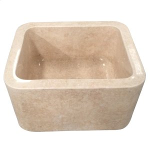"Cather Single Bowl Marble Farmer Sink - 18"" - Polished Egyptian Galala Marble Product Image"