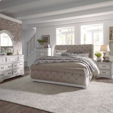 King Uph Sleigh Bed, Dresser & Mirror, Chest, NS