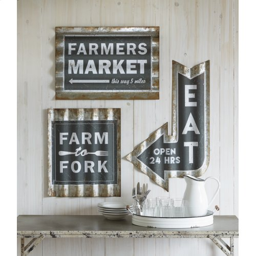 "Rusted Galvanized Corrugated ""Eat"" Arrow Wall Decor"