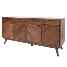 Piero KD Chevron Buffet 4 Drawers + 4 Doors, Monterey Brown