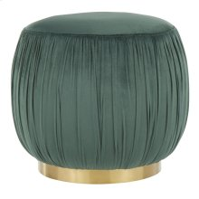 Ruched Ottoman - Gold Metal, Emerald Green Velvet