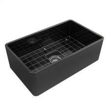 Crisfield Single Bowl Fireclay Farmer Sink - Black