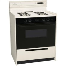 """30"""" Wide Bisque Gas Range W/sealed Burners, Electronic Ignition, Digital Clock/timer, Black See-through Glass Oven Door and Light; Replaces Stm2307dfk"""