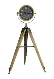 Clock On Tripod Stand, Brown