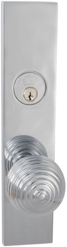 Exterior Modern Mortise Entrance Knob Lockset with Plates in (US26 Polished Chrome Plated) Product Image