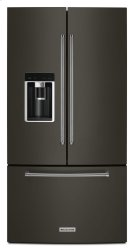 """23.8 cu. ft. 36"""" Counter-Depth French Door Platinum Interior Refrigerator - Black Stainless Product Image"""
