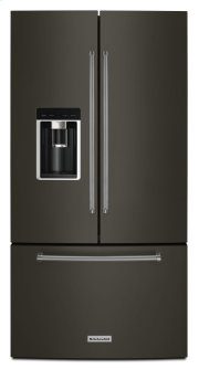 """23.8 cu. ft. 36"""" Counter-Depth French Door Platinum Interior Refrigerator with PrintShield Finish - Black Stainless Product Image"""
