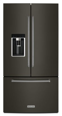 "23.8 cu. ft. 36"" Counter-Depth French Door Platinum Interior Refrigerator - Black Stainless"