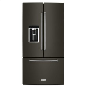 "KitchenAid23.8 cu. ft. 36"" Counter-Depth French Door Platinum Interior Refrigerator with PrintShield™ Finish - Black Stainless Steel with PrintShield™ Finish"
