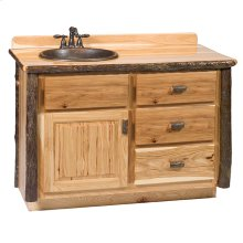 Vanity with Top - 48-inch - Cinnamon - Sink Left - Liquid Glass