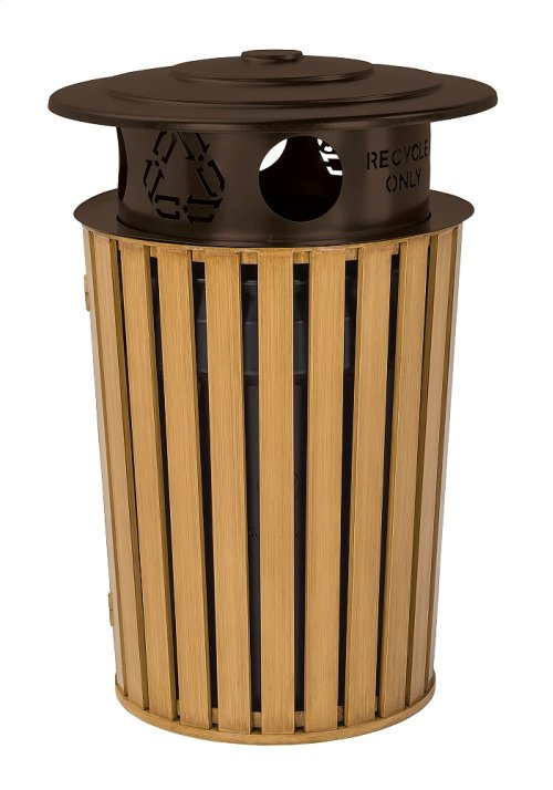 District Round Waste Receptacle with Recycling Hood, Faux Wood Slat