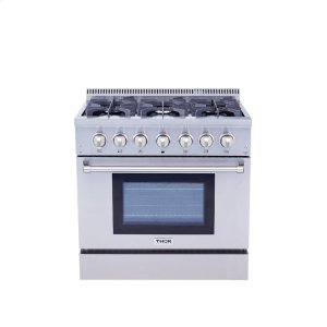 Thor Kitchen36 Inch Professional Dual Fuel Range In Stainless Steel