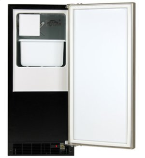 "15"" Crescent Ice Machine - Solid Black Door, Stainless Steel Handle - Right Hinge"