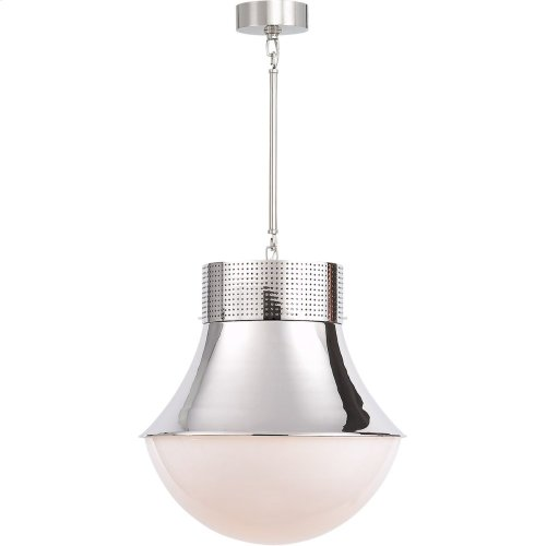 Visual Comfort KW5223PN-WG Kelly Wearstler Precision 1 Light 17 inch Polished Nickel Pendant Ceiling Light, Kelly Wearstler, Large, White Glass
