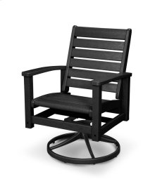 Black & Textured Black Signature Swivel Rocking Chair