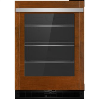 "Panel-Ready 24"" Under Counter Glass Door Refrigerator, Left Swing, Stainless Steel"