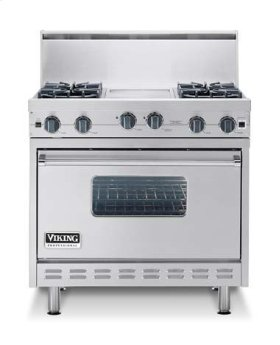 "Oyster Gray 36"" Sealed Burner Range - VGIC (36"" wide range with four burners, 12"" wide griddle/simmer plate, single oven)"