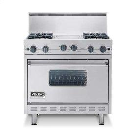"Metallic Silver 36"" Sealed Burner Range - VGIC (36"" wide range with four burners, 12"" wide griddle/simmer plate, single oven)"
