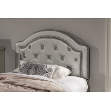Karley Headboard - Twin - Embossed Silver With Glass Button