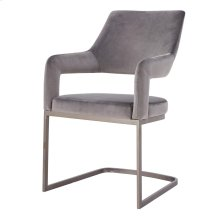 Raquel KD Velvet Fabric Chair Silver Legs, Gravel Gray *NEW*