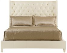 Queen-Sized Salon Upholstered Panel Bed in Alabaster (341)