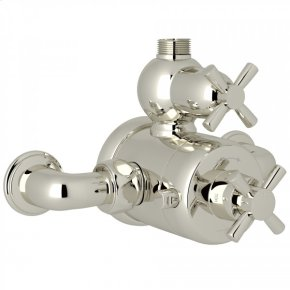 Polished Nickel Perrin & Rowe Holborn Exposed Thermostatic Mixer with Holborn Cross Handle