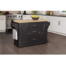 Brigham Kitchen Island In Black With Natural Wood Top