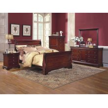 Versaille 6/0 WK Sleigh Bed - 5 Drwr Lift Top Chest