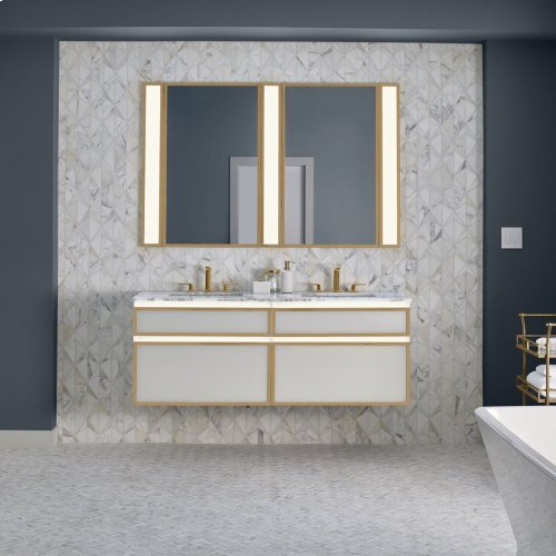 "Profiles 36-1/8"" X 7-1/2"" X 21-3/4"" Framed Slim Drawer Vanity In Mirror With Matte Gold Finish and Slow-close Full Drawer"