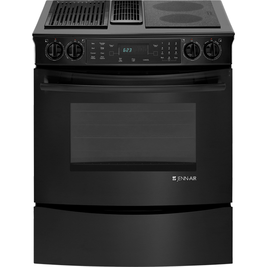 Jes9860cab Jenn Air Slide In Modular Electric Downdraft Range With Convection 30 Floating Glass Black My Appliance Source