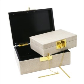 S/2 Wood Storage Boxes, Beige