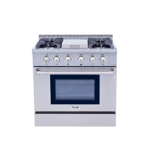 Thor36 Inch Professional Gas Range With Griddle In Stainless Steel