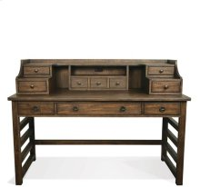 Perspectives Leg Desk with Hutch Brushed Acacia finish