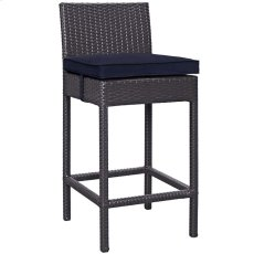 Convene Outdoor Patio Fabric Bar Stool in Espresso Navy Product Image