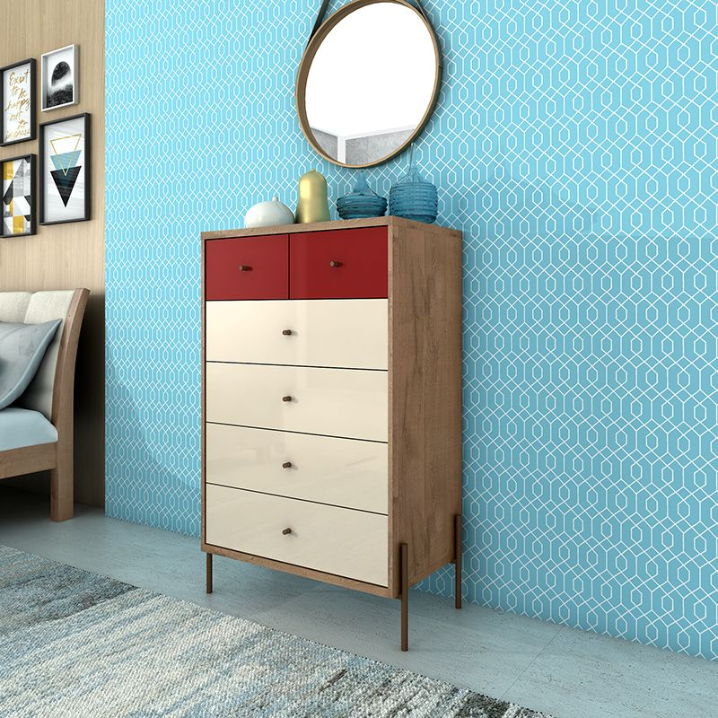"""Joy 48.43"""" Tall Dresser with 6 Full Extension Drawers in Red and Off White"""
