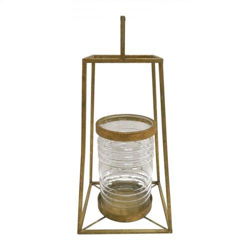 Pyramid Lantern Sm Antique Gold