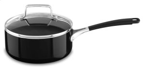 Aluminum Nonstick 2.0-Quart Saucepan with Lid - Onyx Black