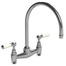 White lever kitchen bridge mixer