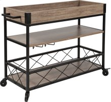 Buckhead Distressed Light Oak Wood and Iron Kitchen Serving and Bar Cart with Wine Glass Holders