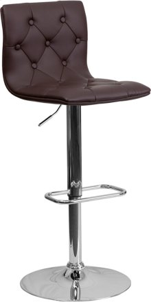 Contemporary Button Tufted Brown Vinyl Adjustable Height Barstool with Chrome Base