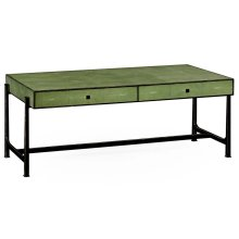 Green Faux Shagreen Coffee Table with Bronze Base