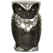 Owl Garden Stool, Silver Product Image