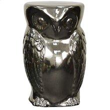 Owl Garden Stool, Silver