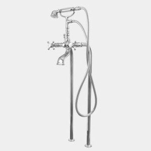 Butler Mill Floor Mount Telephone Tub Filler - Straight Legs with St. Michel Handle