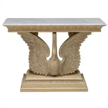 CAST RESIN SWAN CONSOLE TABLE WITH A CHAMPAGNE SILVER LEA F AND WHITE GLAZE FINISH, WHIT