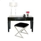 """Black Glass Beveled 3 Drawer Desk. All Drawers On Glides. Height To Bottom of Drawer From Floor: 23.5"""". Product Image"""
