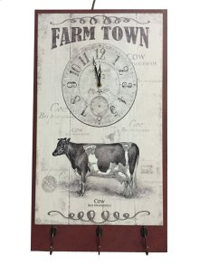 Farm Town Cattle Clock Plaquew/hooks, White/red